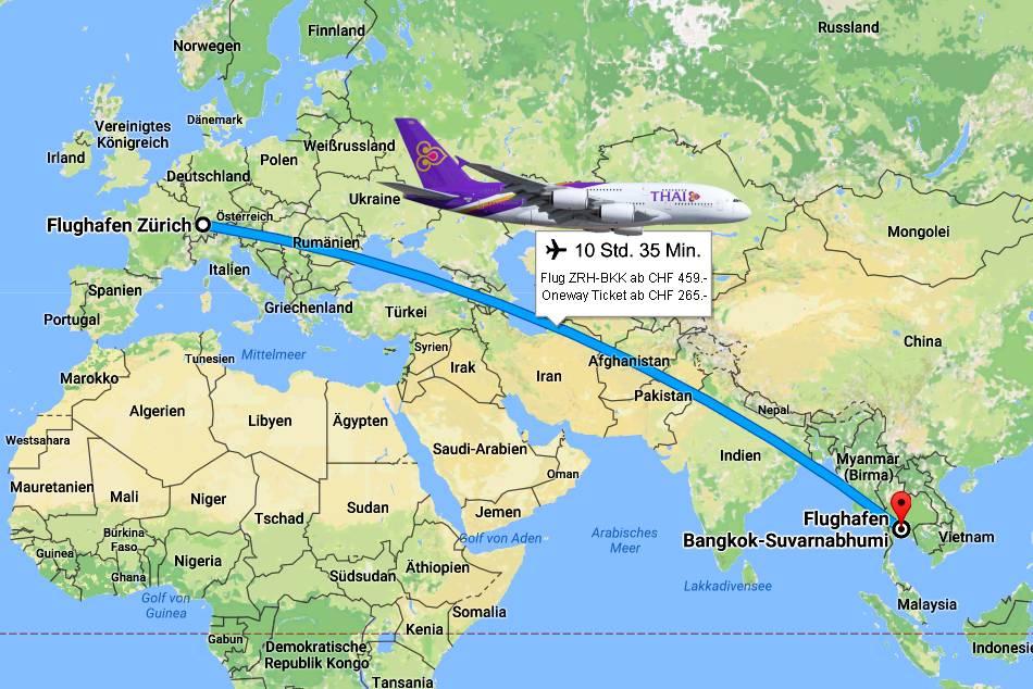 Sonderangebote Flugroute Zürich-Bangkok (Direktflüge Thai Airways / Lufthansa / Swiss-Air)
