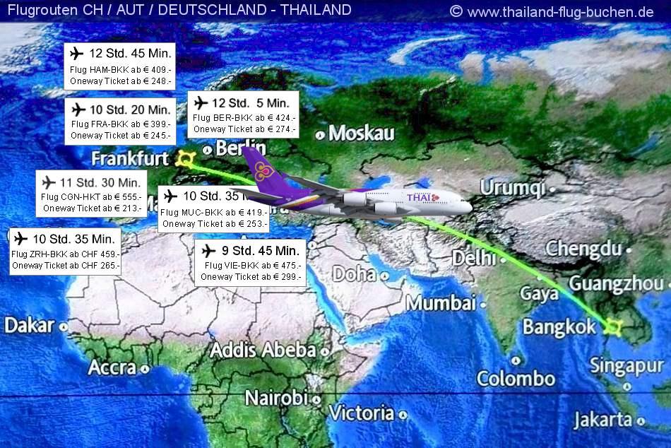 Flugverbindungen Deutschland Thailand