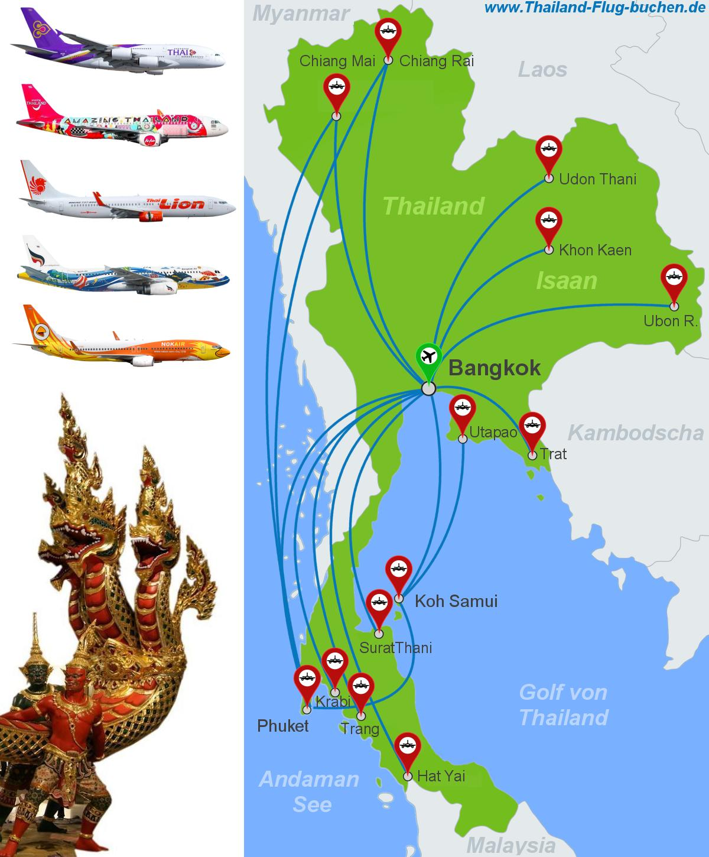 Thailand Inlandsfluge Buchen Domestic Flugtickets